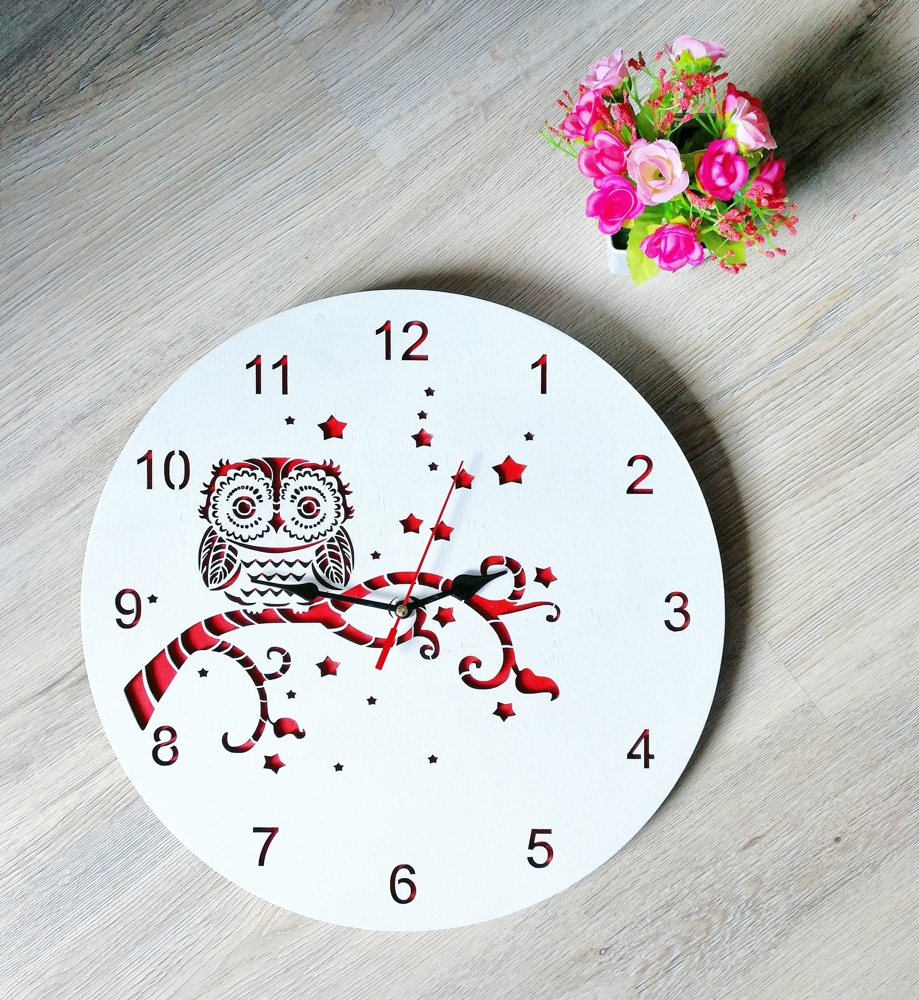 Laser Cut Decorative Owl Wall Clock Free Vector
