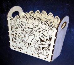 Laser Cut Floral Basket Free Vector