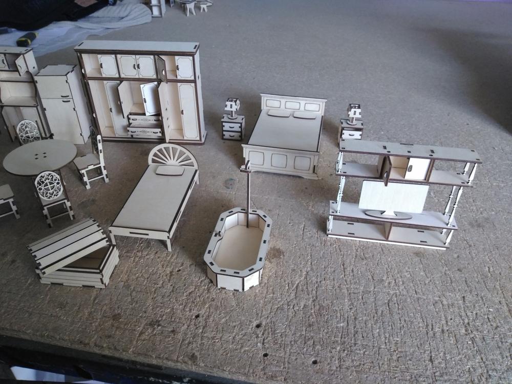 Laser Cut Wooden Dollhouse Furniture Set DXF File