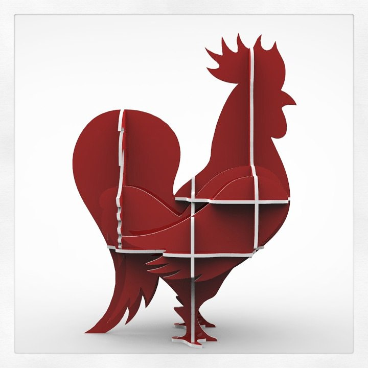 Laser Cut Rooster 3D Wooden Puzzle 16mm DXF File