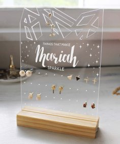 Laser Cut Sparkle Personalized Jewelry Stand Free Vector