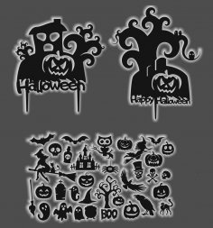 Laser Cut Halloween Party Collection Free Vector