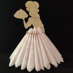 Laser Cut Waitress Napkin Holder Free Vector