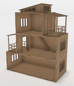 Laser Cut Wooden Modern Dollhouse 3mm Free Vector