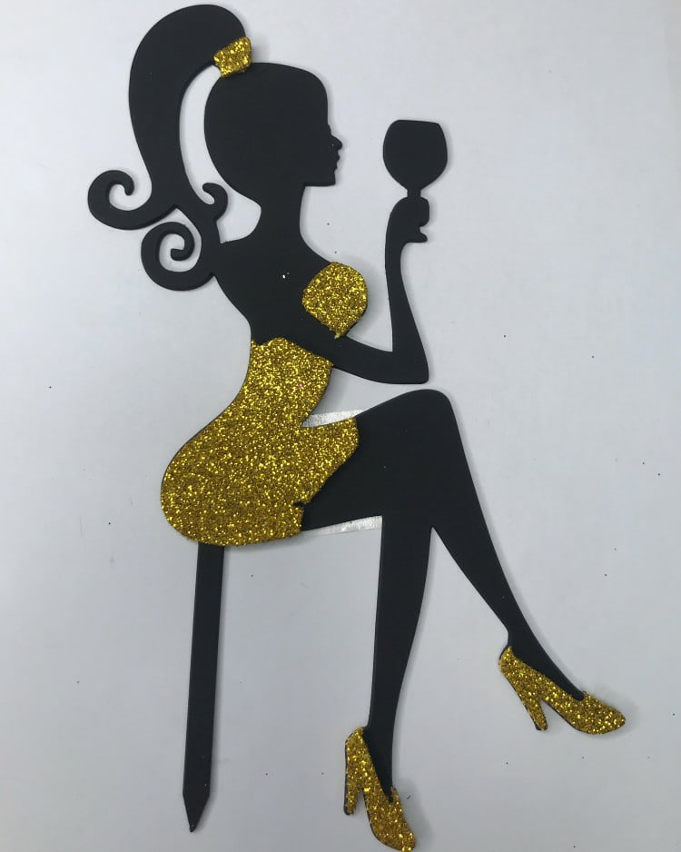 Laser Cut Cake Topper Girl With A Glass Free Vector