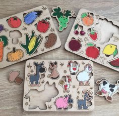 Laser Cut Wooden Farm Peg Puzzle Kids Puzzle Game Free Vector