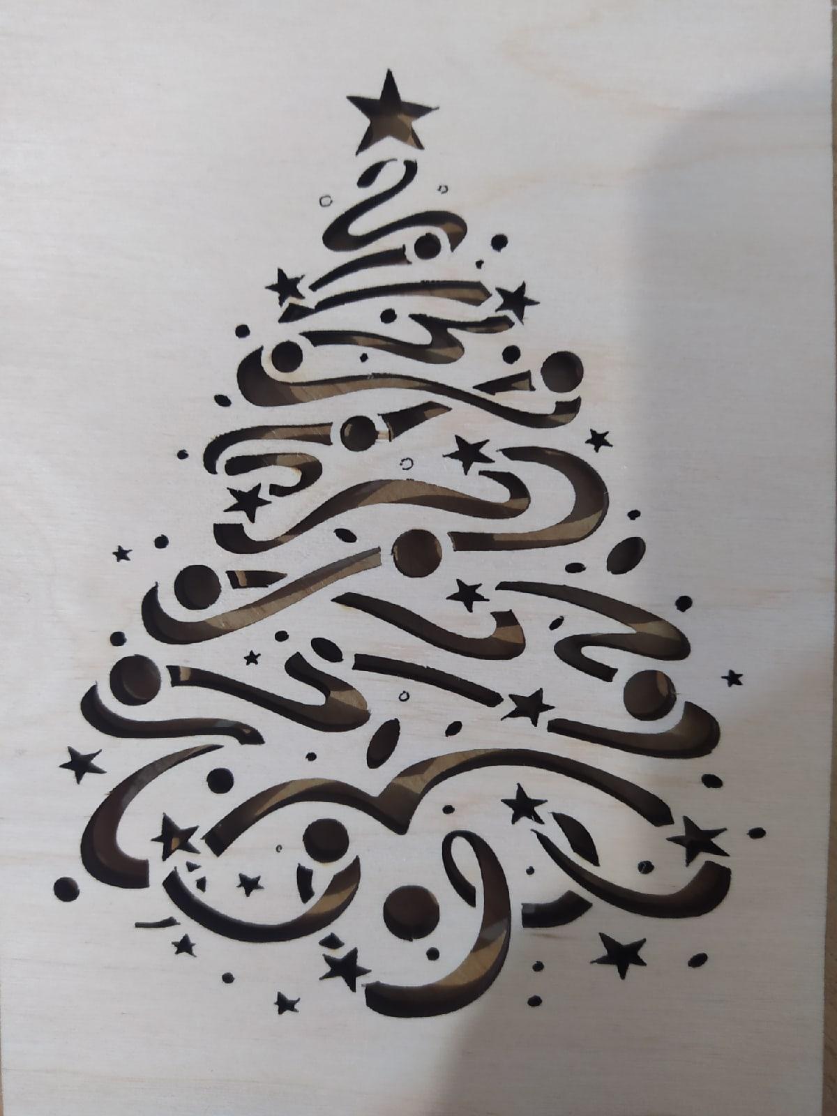 Laser Cut Christmas Tree Pattern Free Vector