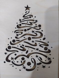 Laser Cut Christmas Tree Pattern Free Vector