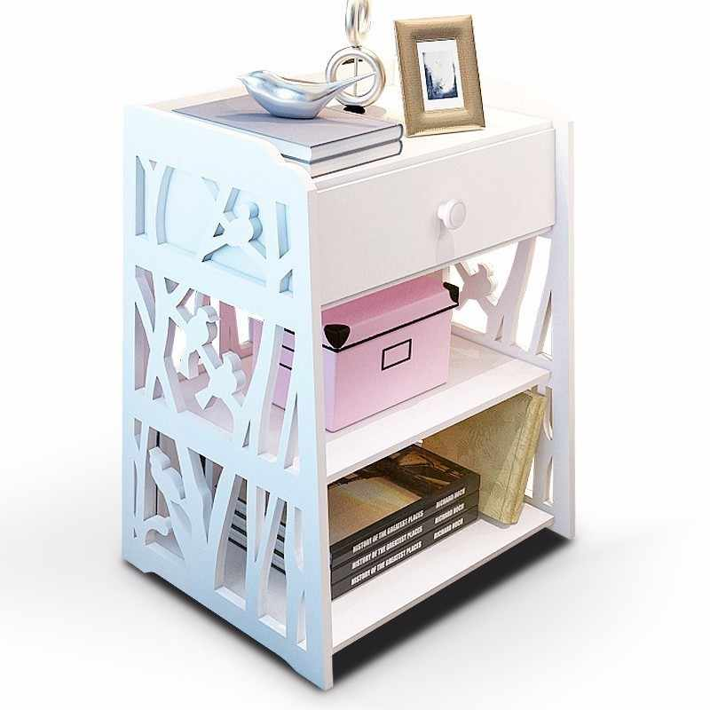 Laser Cut Shelf With Drawers Storage Cabinet Side Table Free Vector