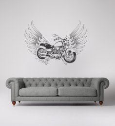 Laser Cut Engrave Flying Motorcycle Wall Art Free Vector