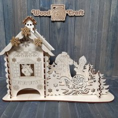 Laser Cut Christmas Tea House Christmas New Year Gift 4mm Free Vector