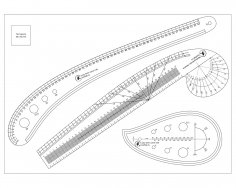 Laser Cut Sewing Ruler Tailor Set Free Vector