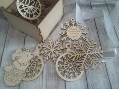Laser Cut Wooden Box With Snowflake Toys 100x100x75mm Free Vector