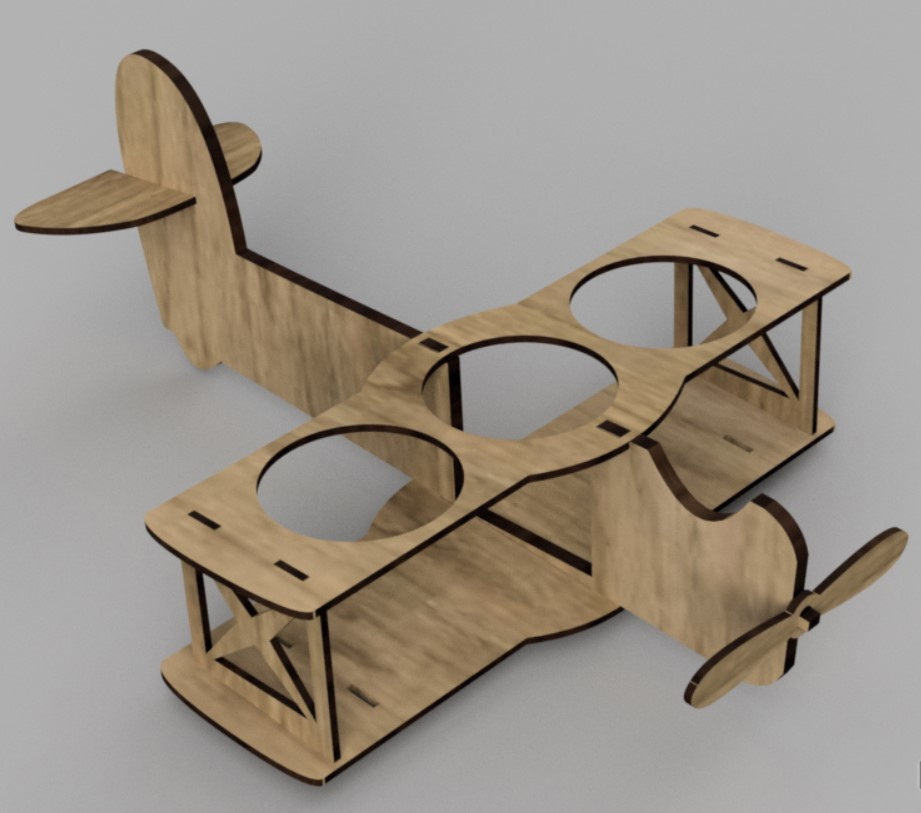Laser Cut Airplane Beer Holder Free Vector