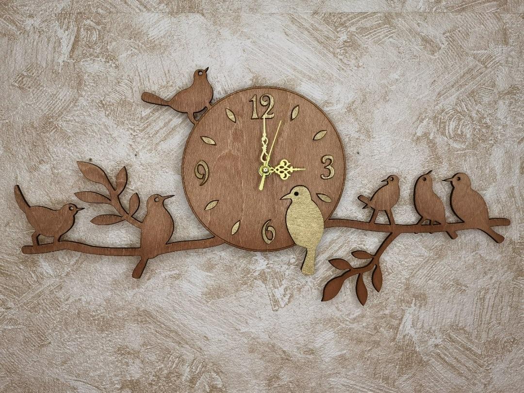 Laser Cut Birds On Branch Wall Clock Free Vector