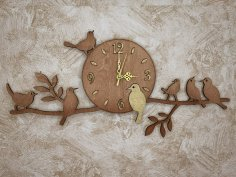 Laser Cut Birds On Branch Wall Clock Free Vector