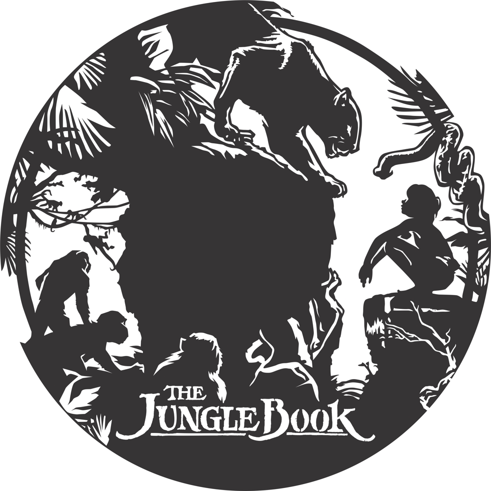 Laser Cut Jungle Book Wall Clock Kids Room Decor Free Vector