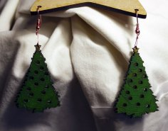 Laser Cut Christmas Tree Earrings 2-3mm SVG File