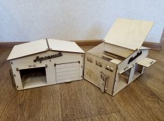 Laser Cut Garage For Toy Cars Plywood 3mm Free Vector