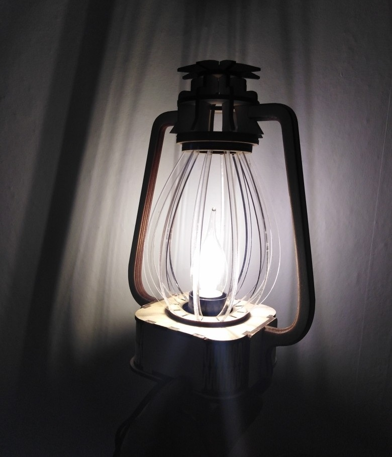 Laser Cut Classic Lantern Nightlight Table Lamp Free Vector