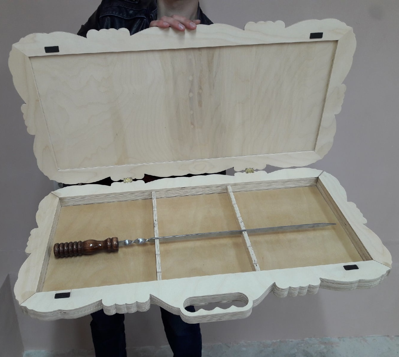 Laser Cut Barbecue Skewers Decorative Wooden Storage Box DXF File