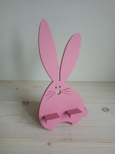 Laser Cut Wooden Bunny Mobile Phone Holder Stand Free Vector