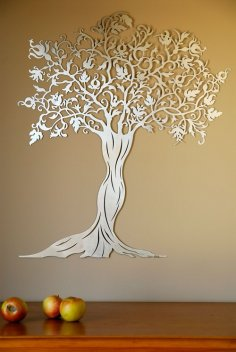 Laser Cut Decorative Wall Tree Free Vector