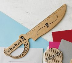 Laser Cut Knife Shaped Wooden Ruler Free Vector
