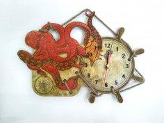 Laser Cut Octopus Wall Clock Free Vector