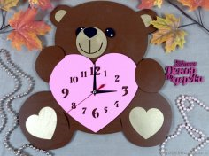 Laser Cut Bear Clock Free Vector
