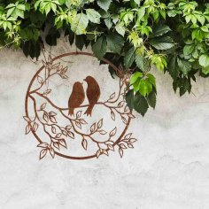 Laser Cut Birds On A Branch Decor Free Vector