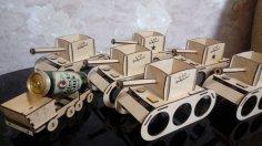 Laser Cut Tank Model Beer Caddy Free Vector