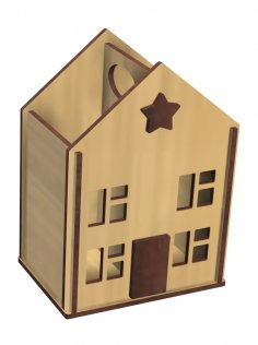 Laser Cut House Shaped Pencil Holder Free Vector