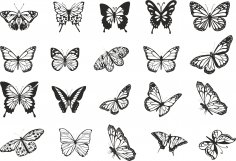 Flying Butterflies Vector Set Free Vector