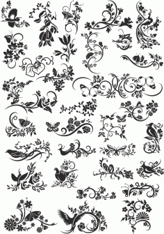 Flowers Decor Vector Collection Free Vector
