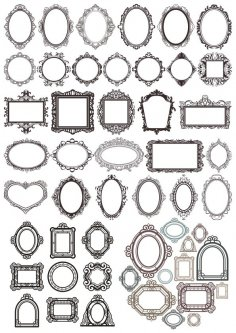 Decor Mirror Frame Set Free Vector