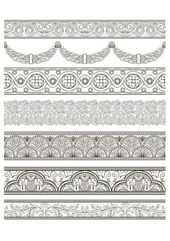 Arabesque Lace Damask Seamless Border Floral Free Vector