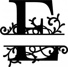 Split Monogram Letter E DXF File