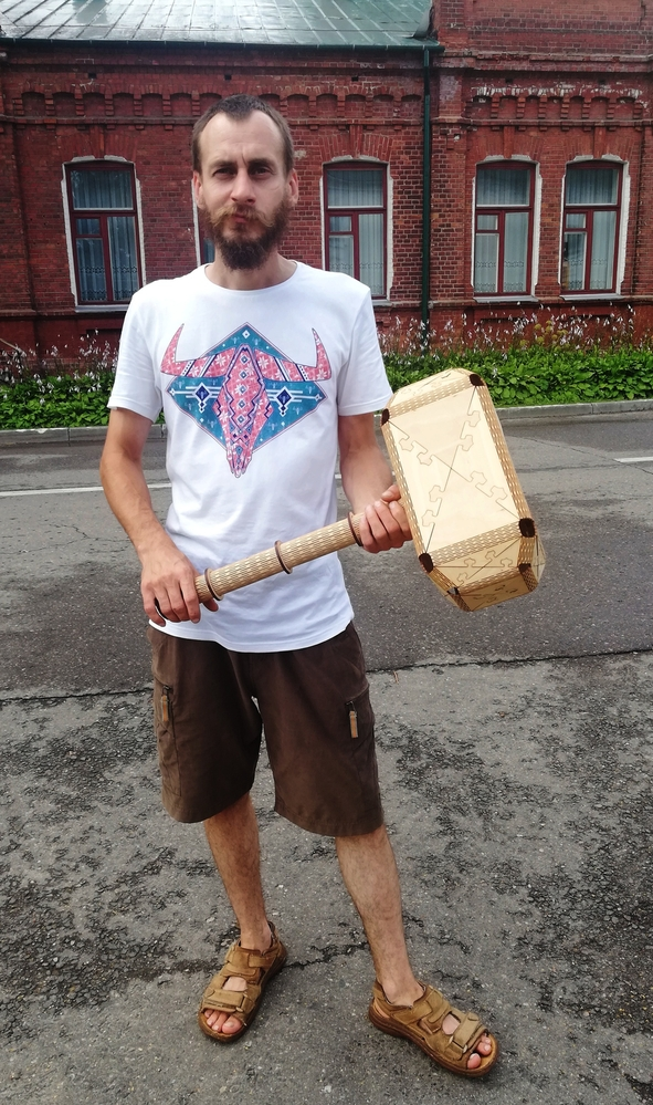 Laser Cut Wooden Thor Hammer Toy Free Vector
