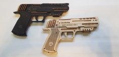 Laser Cut Rubber Band Gun 3mm Plywood Free Vector