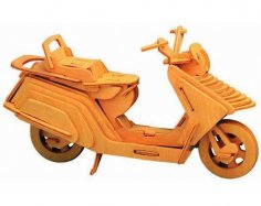 Laser Cut Lambretta Scooter Motorcycle 3D Puzzle Wooden Desktop Model Free Vector