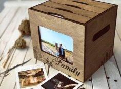 Laser Cut Wooden Photo Album Box Free Vector