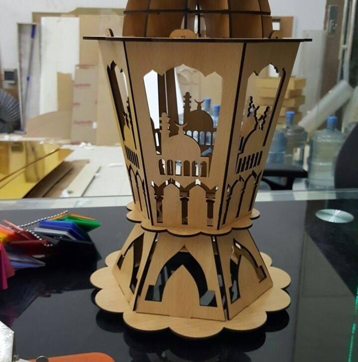 Laser Cut Wooden Islamic Ramadan Fanoos Ramadan Lantern Free Vector