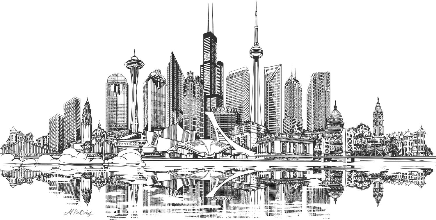 America Shanghai China Skyline Free Vector
