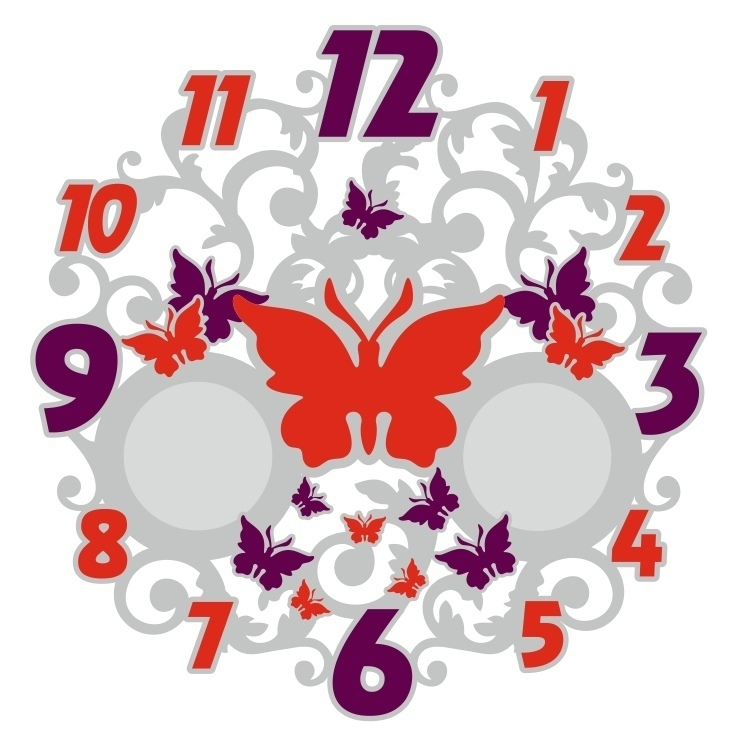 Laser Cut Butterfly Decorative Wall Clock Free Vector