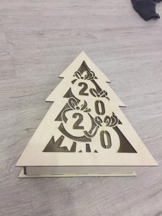 Laser Cut New Year Christmas Tree Shape Box Free Vector