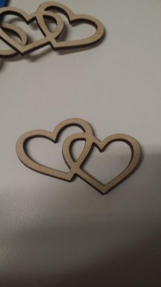 Laser Cut Two Hearts DXF File