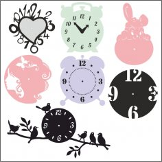 Laser Cut Clock Templates DXF File