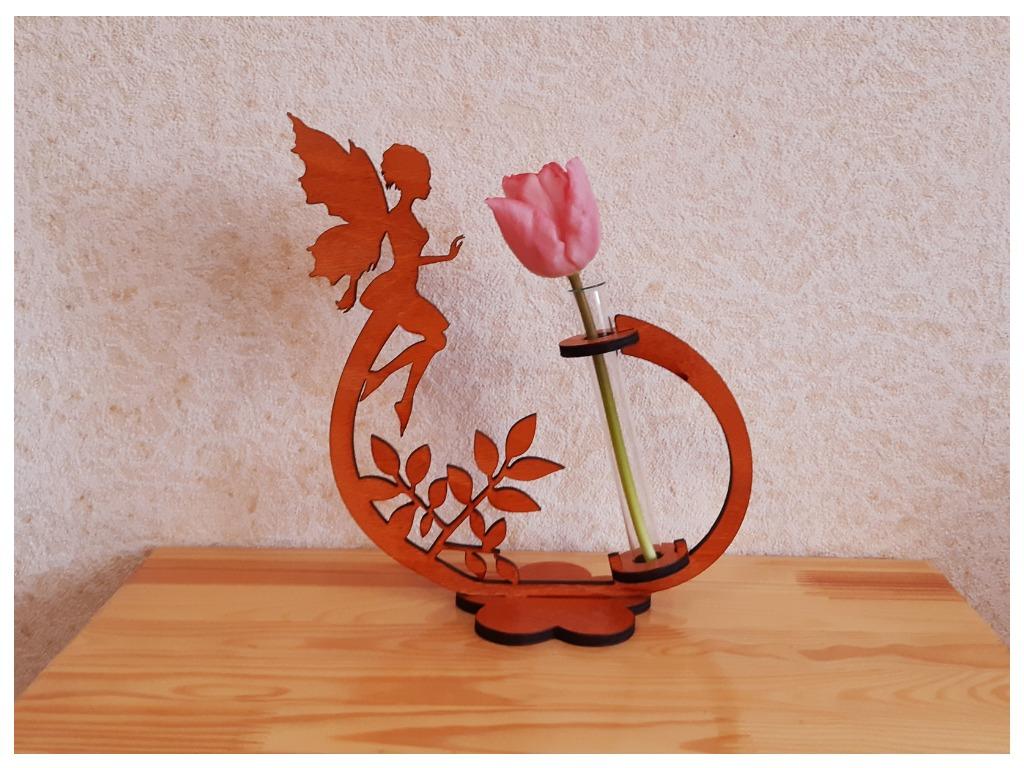 Laser Cut Flower Holder with Fairy Free Vector