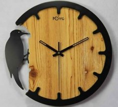 Laser Cut Woodpecker Wall Clock Free Vector